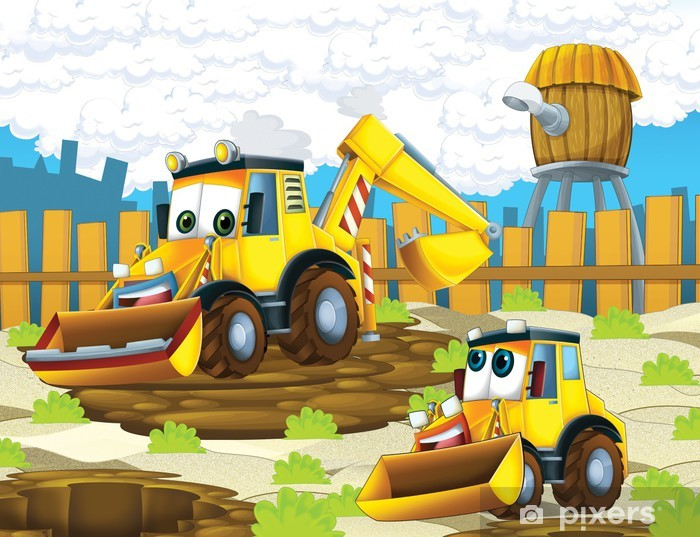 The cartoon digger - illustration for the children Vinyl Wall Mural - iStaging