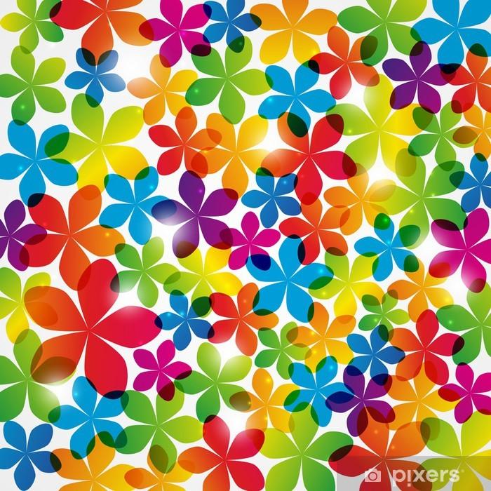 Poster Regenbogen-Blumen-Hintergrund mit Lichtern - Hintergründe