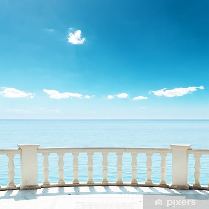 balcony near sea under deep blue sky Vinyl Wall Mural - Skies