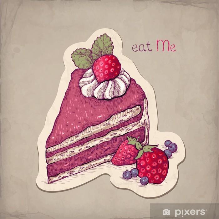 Fototapete Vector Hand Gezeichnete Illustration Der Kuchen Mit