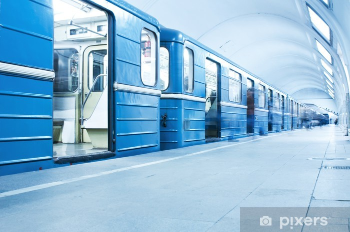 Blue train on subway station Vinyl Wall Mural - Themes