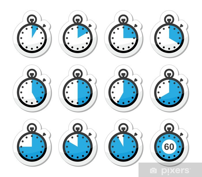Poster Icônes temps, horloge, vecteur chronomètre mis - Signes et symboles