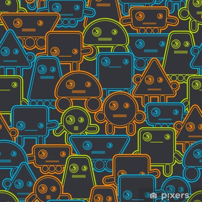 Poster Robots Cartoon seamless pattern. - Styles
