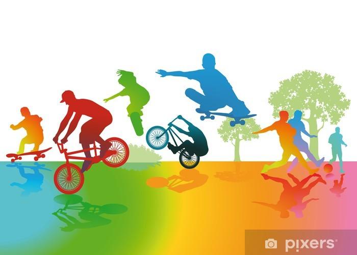Spaß und Sport im Park Pixerstick Sticker - Skateboarding