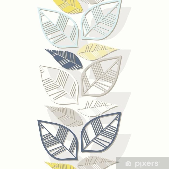 Plakat Błękitne szare żółte liście pionowy nieskończony border - Pory roku