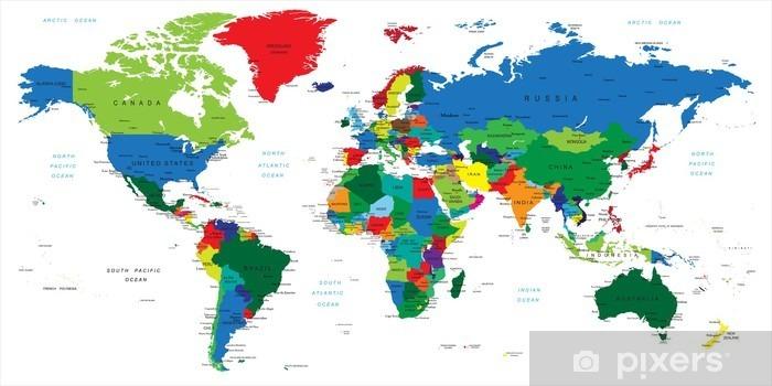 Papier peint vinyle Carte du monde pays - Thèmes