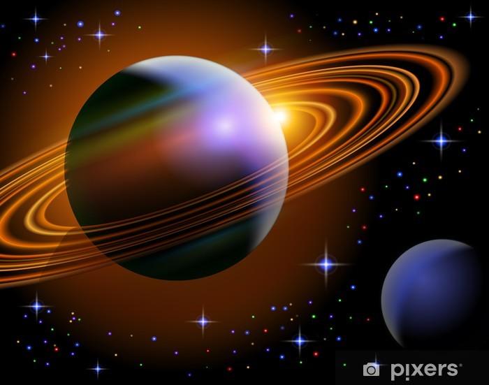 Papier peint vinyle Planète Saturne et l'un de ses lune dans l'espace étoilé - Espace