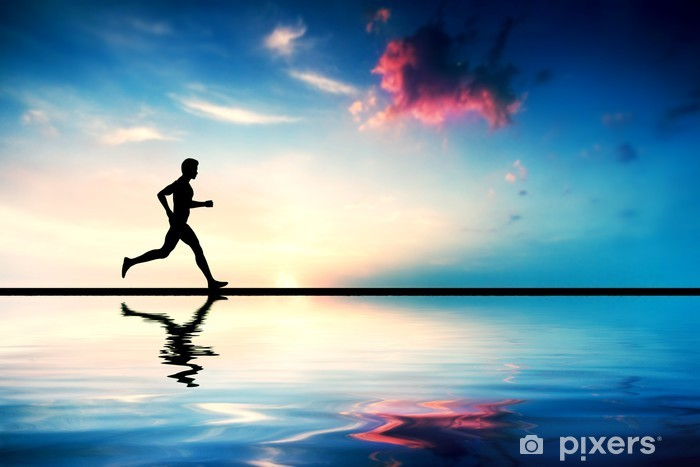 Silhouette of man running at sunset. Water reflection Vinyl Wall Mural - Health