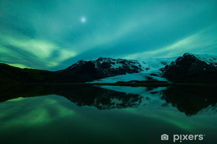Northern lights above lagoon in Iceland Washable Wall Mural - Themes