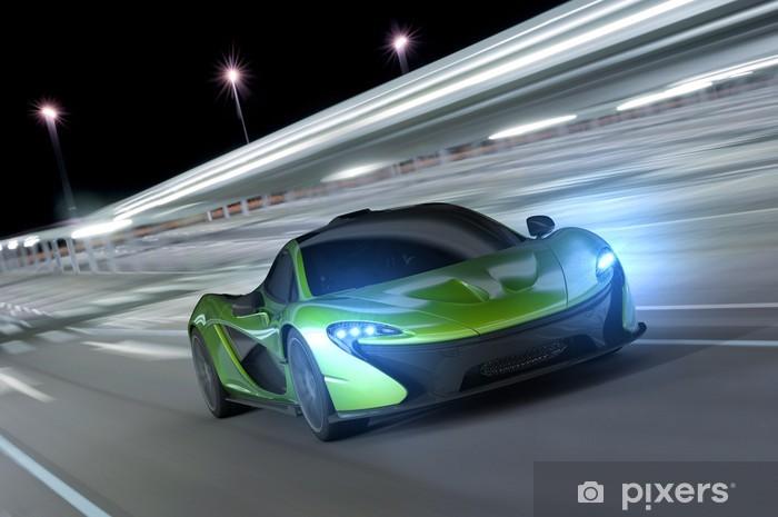Naklejka Pixerstick Samochód wyścigowy w nocy -