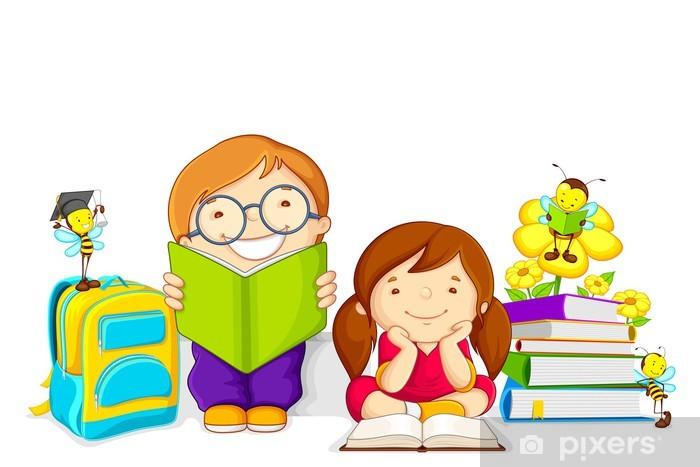 Arı Ile Kitap Okuyan çocuklar Vektör çizim Duvar Resmi Pixers