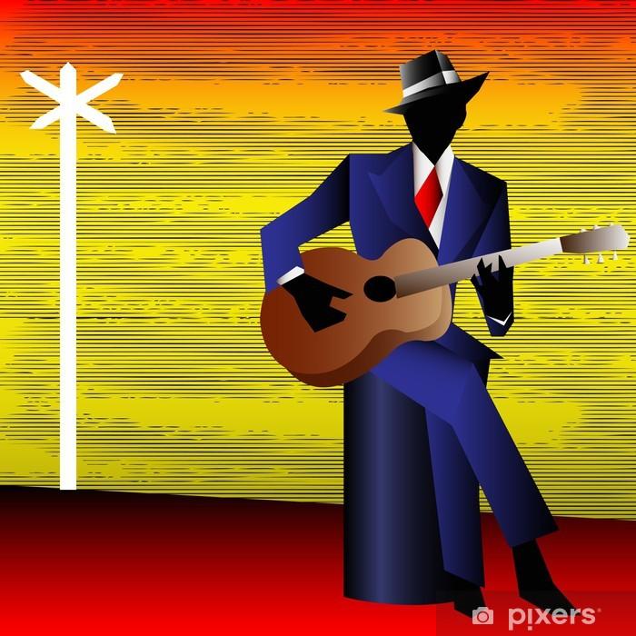 Sticker Pixerstick Guitariste de blues à la croisée des chemins, vecteur de fond pour un Conce - Divertissements