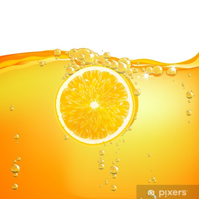 Fototapeta winylowa Ilustracja wektora Pomarańczowy owoc spada w cieczy - Owoce