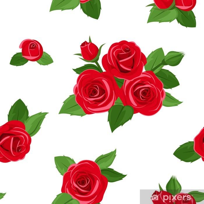 Papier peint vinyle Seamless avec des roses rouges. Vector illustration. - Textures