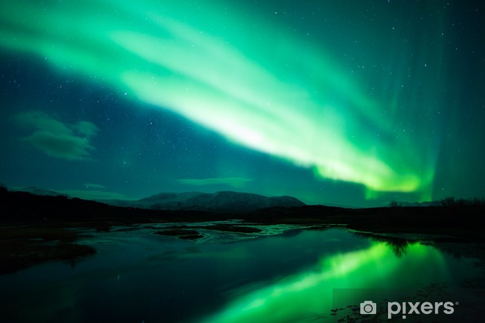 Northern lights above lagoon in Iceland Pixerstick Sticker - Themes