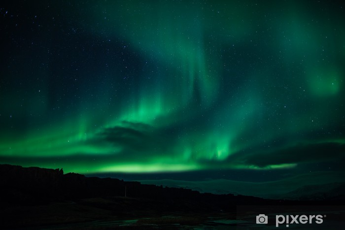 Northern lights above lagoon in Iceland Vinyl Wall Mural - Themes