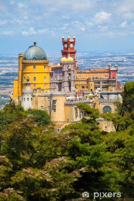 Panorama of Pena National Palace above Sintra town, Portugal Pixerstick Sticker - Holidays