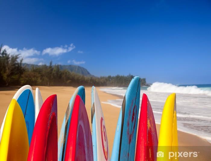 Surfboards at Lumahai beach Kauai Pixerstick Sticker - Individual Sports