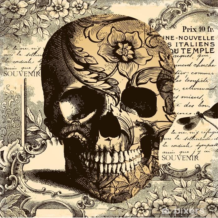 Plakat w ramie Rocznika tle czaszki - Style