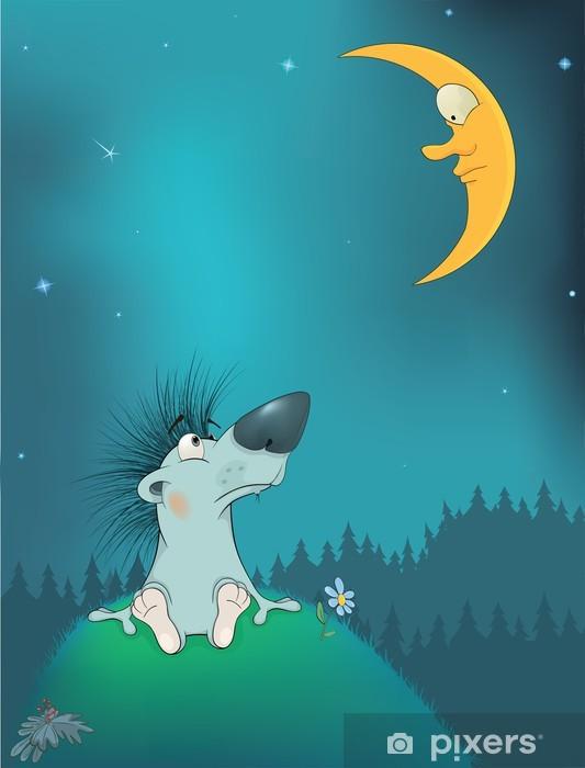 Aufkleber Igel Und Der Mond Karikatur Pixerstick