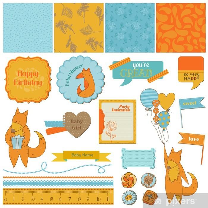 Fototapeta winylowa Design Elements-Baby Shower Zestaw z Scrapbook Śliczne Foxes - w - Świętowanie