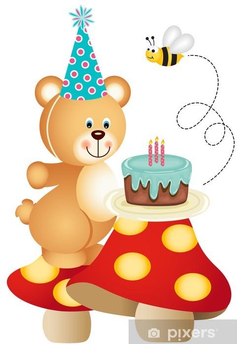 Teddy Bear And Birthday Cake On Mushrooms Vinyl Wall Mural