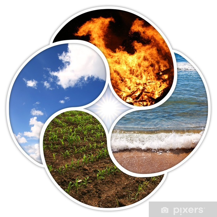 Fototapeta winylowa Cztery żywioły - ogień, woda, ziemia, powietrze - jako symbole Yin-Yang - Klęski żywiołowe