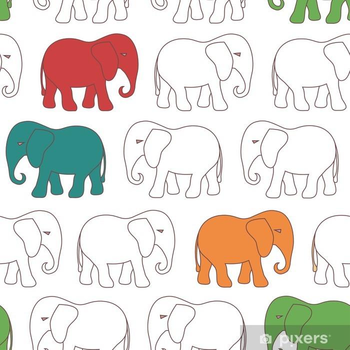 Carta da Parati in Vinile Seamless pattern withl elefante cartoon - Sfondi