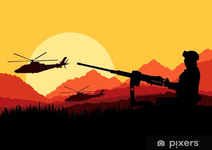 Fototapeta winylowa Żołnierz armii helikoptery, karabiny i transportu w dzikiej d - Inne uczucia