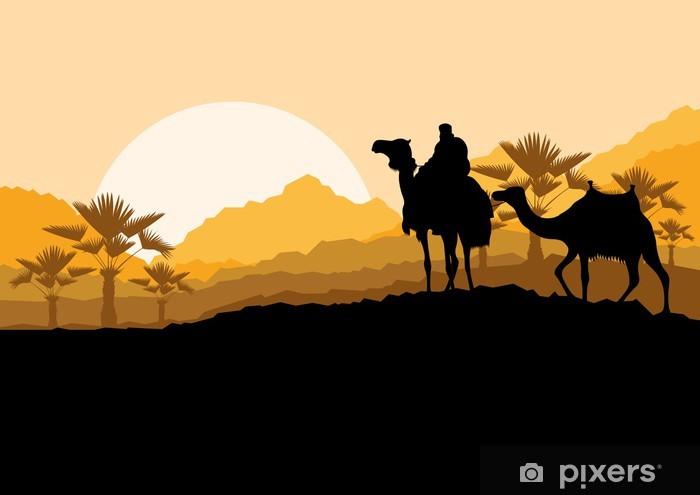 Pixerstick Sticker Kameel caravan in wilde woestijn aard berglandschap backgroun - Andere Gevoelens