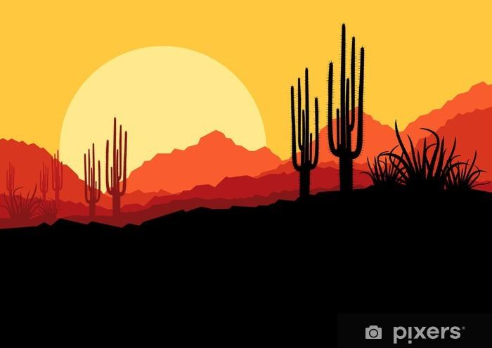 Pixerstick Sticker Woestijn wilde natuur landschap met cactussen en palmbomen planten - Andere Gevoelens