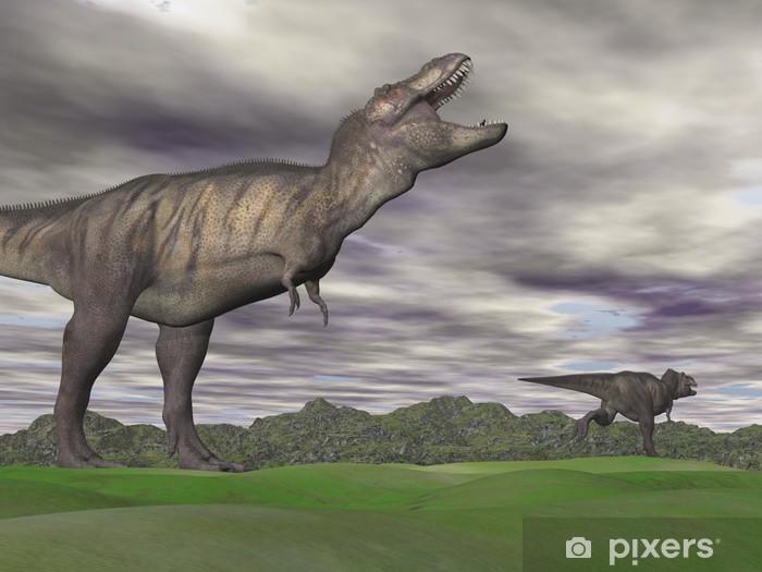 Vinyl Fotobehang Tyrannosaurus schreeuwen naar elkaar - 3D render - Thema's
