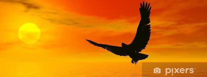 Eagle by sunset - 3D render Pixerstick Sticker - Themes
