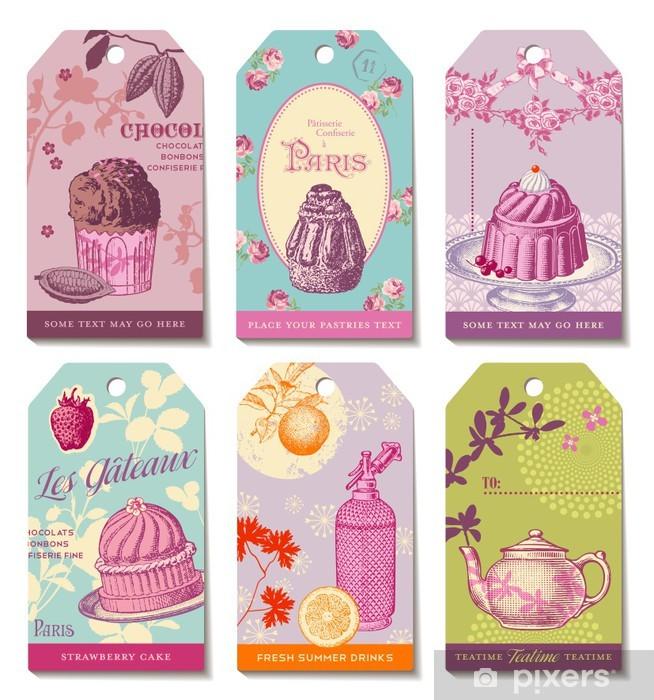 Naklejka Pixerstick Zestaw 6 kolorowych etykiet tematycznych żywności - Słodycze i desery