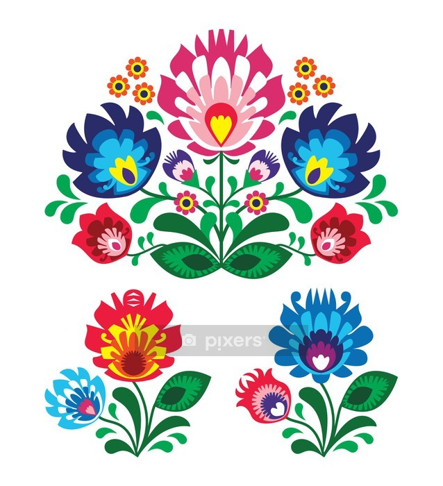 Polish floral folk embroidery pattern Wall Decal - Wall decals