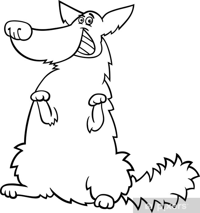 happy shaggy dog cartoon for coloring book Sticker • Pixers® • We ...