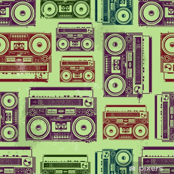Old-school tape recorders in psychedelic style Poster - Textures
