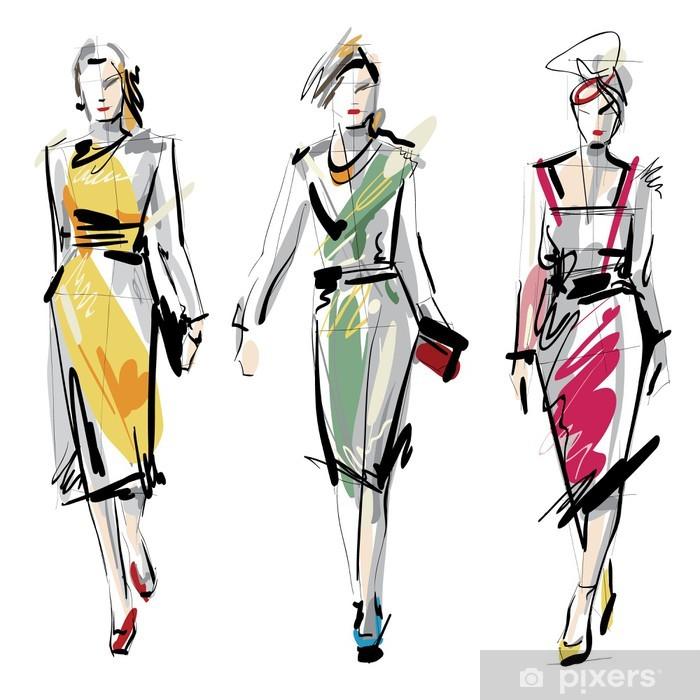 Fashion models. Sketch. Vinyl Wall Mural - Fashion