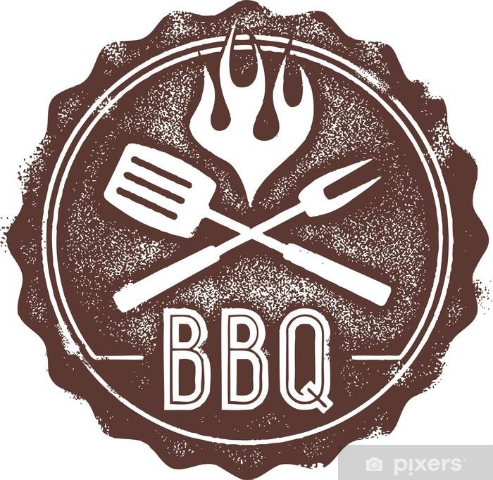 Lack Tafelsticker Vintage Barbecue BBQ Stamp - Vlees