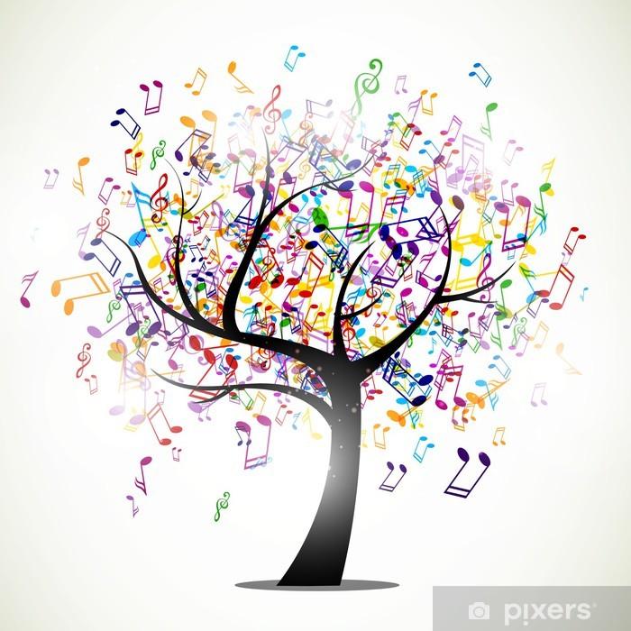 Pixerstick Sticker Vector illustratie van een abstracte achtergrond met muziek noten -