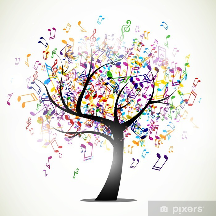 Vector Illustration of an Abstract Background with Music notes Pixerstick Sticker -