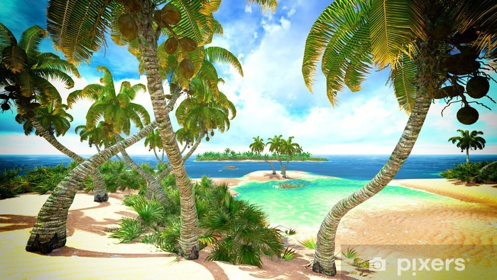 Naklejka Pixerstick Tropikalny raj na plaży - Ameryka Północna