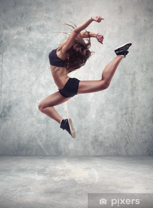 young woman dancer with grunge wall background Pixerstick Sticker - Themes
