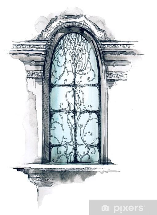 Papier peint vinyle Fenêtre - Maisons et jardins
