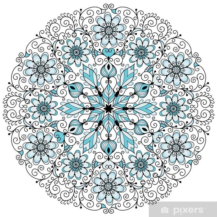 Floral lacy vintage round frame Pixerstick Sticker - Wall decals