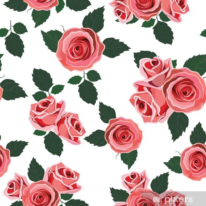 Nálepka Pixerstick Bezešvé květinovým vzorem. Retro tapety s růžemi - Zemědělství