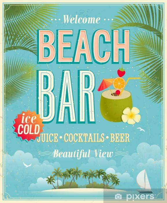 Vinilo Pixerstick Poster Vintage Bar Beach. Vector de fondo. - Alcohol