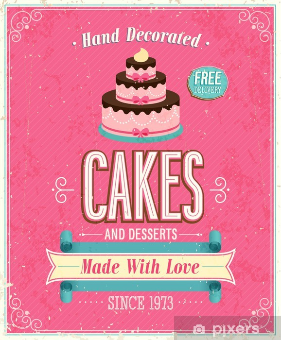 Fototapeta winylowa Vintage Poster Cakes. Ilustracji wektorowych. - Style