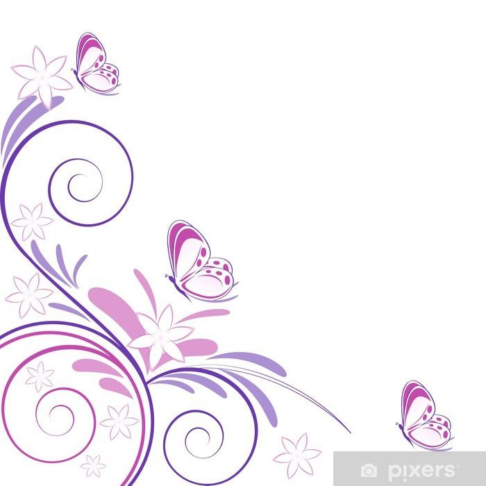 Fiori E Farfalle.Sfondo Primaverile Fiori E Farfalle Wall Mural Pixers We Live