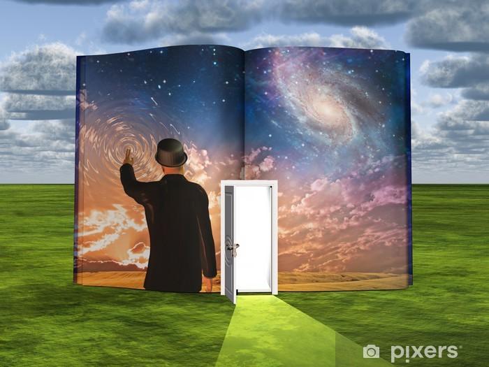 Papier peint vinyle Réservez avec scène de science-fiction et la porte ouverte de la lumière - Art et création